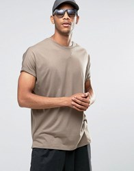 Asos Super Oversized T Shirt With Roll Sleeve In Brown Fossil