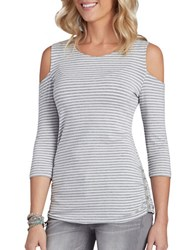 Democracy Three Quarter Striped Top
