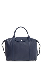 Longchamp 'Le Pliage Cuir' Leather Handbag Blue New Navy