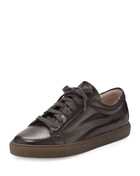 Brunello Cucinelli Leather Lace Up Sneaker Brown