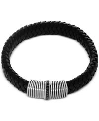 Effy Men's Black Sapphire 1 3 Ct. T.W. Black Leather Woven Bracelet In Sterling Silver