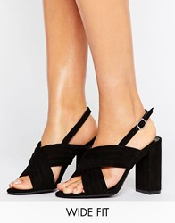 New Look Wide Fit Suedette Cross Strap Heeled Sandal Black