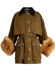 Miu Miu Fur Cuff Waxed Cotton Coat Khaki