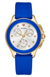 Michele Women's Cape Chronograph Silicone Strap Watch 34Mm Cobalt Gold