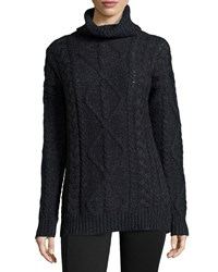 Halston Long Sleeve Chunky Turtleneck Sweater Black Navy Blue