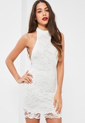 Missguided White Lace High Neck Curved Hem Bodycon Dress