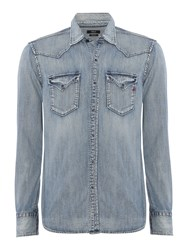 Replay Men's Denim Shirt With Patch Pockets Blue