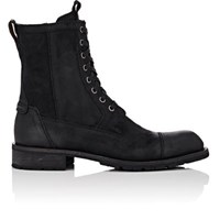 John Varvatos Men's Star S Suede Combat Boots Black