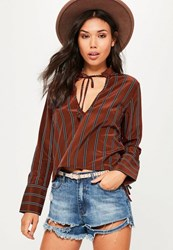 Missguided Brown Stripe Tie Neck Tie Cuff Blouse Tan
