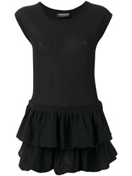 Twin Set Pleated Trim Top Black