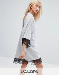 Milk It Vintage Oversized Festival T Shirt Dress With Open Back And Lace Trim Gray
