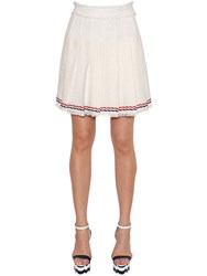 Thom Browne Pleated Cotton Tweed Skirt