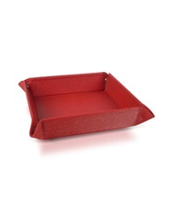 Pineider City Chic Calfskin Square Medium Valet Tray Red