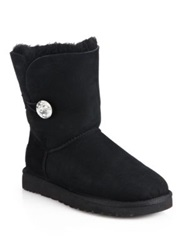 Ugg Bailey Jewel Button Sheepskin Lined Suede Boots Grey Black