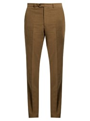 Gieves And Hawkes Slim Leg Brushed Cotton Chino Trousers Khaki