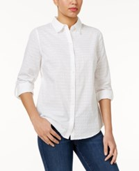 Charter Club Petite Cotton Textured Shirt Only At Macy's Bright White