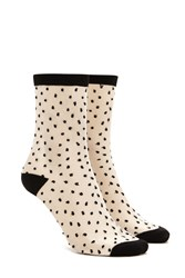 Forever 21 Mesh Polka Dot Crew Socks Black Multi