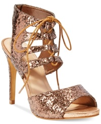 Thalia Sodi Women's Rhumba Lace Up Dress Sandals Women's Shoes Glitter Bronze