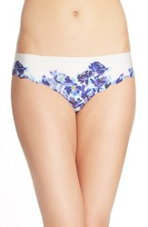 Halogen Women's 'No Show' Scalloped Thong Ivory Egret Painted Floral Prt