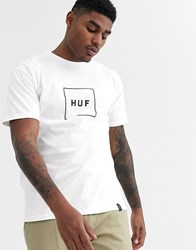 Huf Essentials Box Logo T Shirt In White