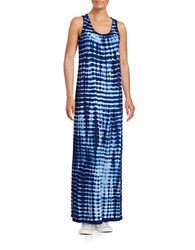 Lord And Taylor Petite Sunrise Tie Dye Drape Maxi Dress Evening Blue