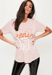 Missguided Pink Santa Cruz Lace Up Graphic T Shirt Nude