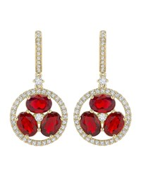 Kiki Mcdonough 18K Gold Fire Opal And Diamond Flower Drop Earrings Red
