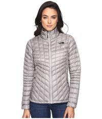 The North Face Thermoball Full Zip Jacket Metallic Silver Tnf Black Women's Coat Gray