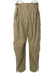 Givenchy High Waisted Cargo Trousers Green
