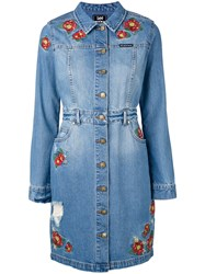 House Of Holland Embroidered Shirt Dress Women Cotton Polyester S Blue