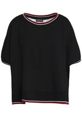 Roberto Cavalli Printed Crepe And Cotton Blend Terry T Shirt Black