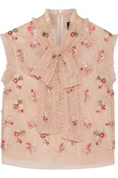 Needle And Thread Ditsy Pussy Bow Embellished Tulle Blouse Blush