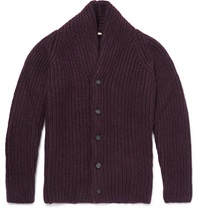 Massimo Alba Yak Mohair And Silk Blend Cardigan Purple