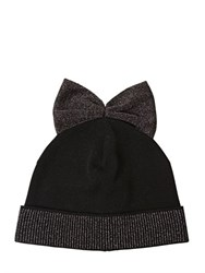 Federica Moretti Wool Beanie Hat With Lame Bow