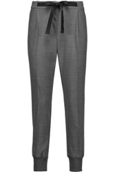 Brunello Cucinelli Pleated Wool Blend Tapered Pants Gray