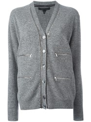 Marc Jacobs Zipped Long Sleeve Cardigan Grey