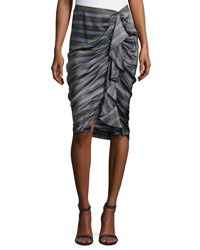 Veronica Beard Drew Striped Cascade Ruffle Pencil Skirt Black Blue Black Pattern