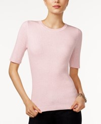 Tommy Hilfiger Ribbed Crew Neck Top Only At Macy's Heather Petal