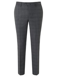 Hackett London Super 120S Wool Prince Of Wales Check Chelsea Regular Fit Suit Trousers Mid Grey