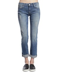 Mavi Jeans Emma Distressed Five Pocket Mid Shade Blue