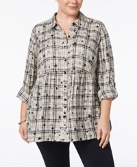 Style And Co Plus Size Star Print Plaid Babydoll Shirt Created For Macy's Astrid Plaid