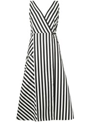Anna October Striped Midi Dress Black