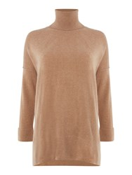 Repeat Cashmere Turtle Neck Half Sleeve Jumper Caramel
