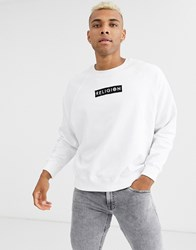 Religion Sweatshirt With Back Palm Ink Print In White