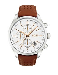 Hugo Boss Grand Prix Stainless Steel And White Dial Chronograph Leather Strap Watch Brown