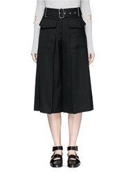 Acne Studios 'Inez Struct' Belted Flare Wool Culottes Black