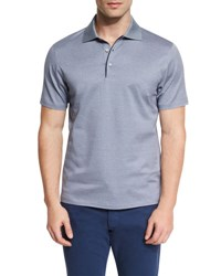 Ermenegildo Zegna Basketweave Pattern Short Sleeve Polo Shirt Navy