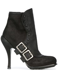 Christian Dior Vintage Buckled Booties Black
