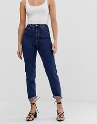 Stradivarius Mom Jean With Stretch In Blue Blue