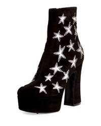 Saint Laurent Candy Star Embroidered Suede Platform Boot Black Silver Nero Argento